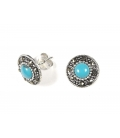 Boucles d'oreilles Turquoise avec Marcassite