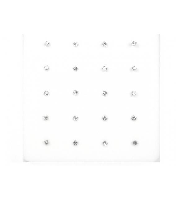 Nariz Plata Bola Brillante 1.2mm Engarzado Blanco