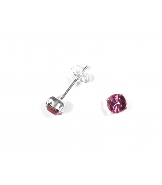 Pendiente Plata Brillante 5mm Engarzado Rosa