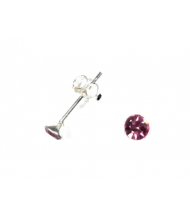 Pendiente Plata Brillante 4mm Rosa