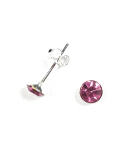 Pendiente Plata Brillante 5mm Rosa