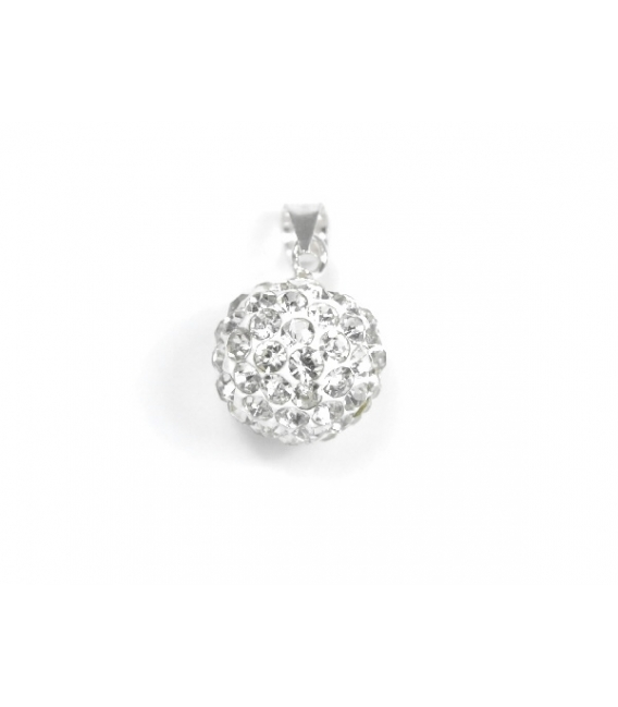 Pendentif Boule Strass 10mm Blanche