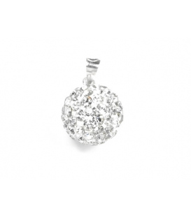 Pendentif Boule Strass 12mm Blanche
