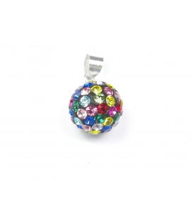 Colgante Plata Strass Bola 10mm Color