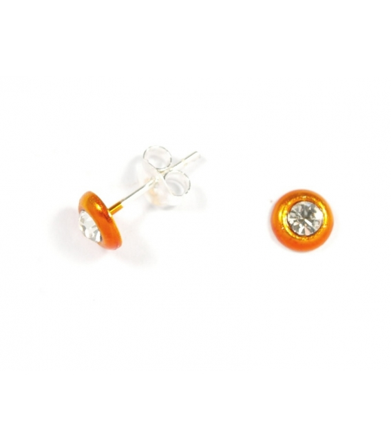 Boucles d'oreilles Fluo Orange 5mm Zirconium