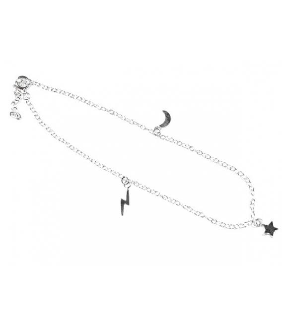 Tobillera Plata Rayo, Estrella y Luna 22+2,50cm