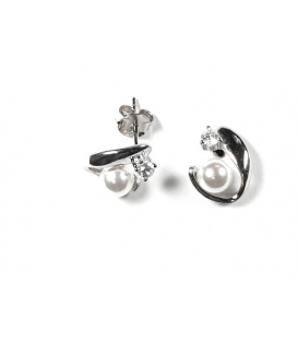 Boucles d'oreilles Perle 421 Argent Rhodié