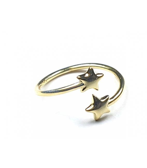 Anillo Plata Dos Estrellas 539 Bañado