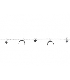 Pulsera Plata Estrellas Luna Invertida 16+3cm