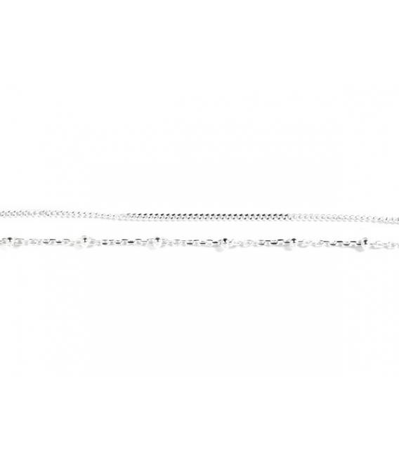 Pulsera Plata Cadena Bolas 16+3,5cm