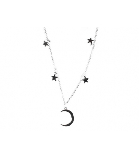 Gargantilla Plata Luna Estrellas 40+3cm