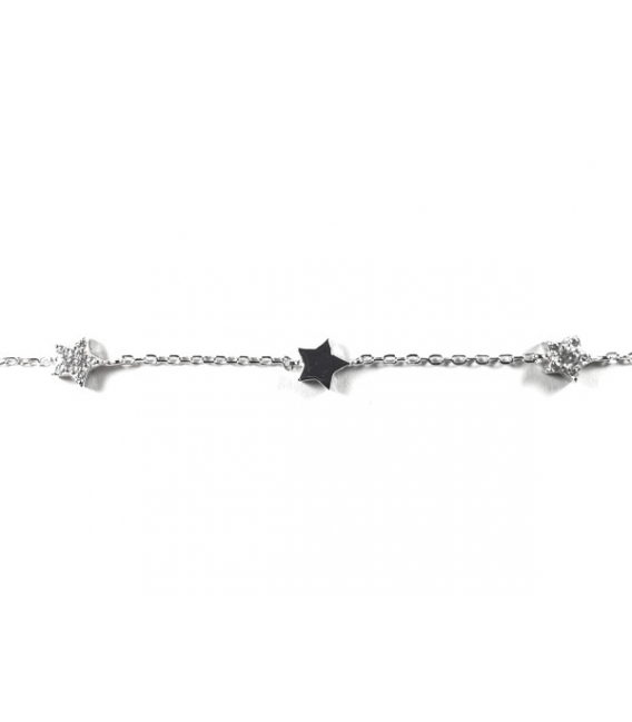 Pulsera Estrellas 17+2,5cm Plata Rodiada