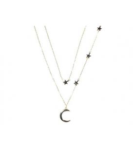 Gargantilla Estrellas Luna 40+3,5cm Bañada
