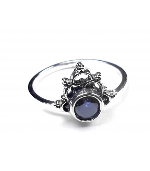 Anillo Plata Circonita Azul 198-1