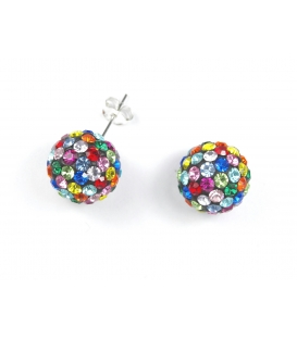 Pendiente Strass Bola 12mm Color